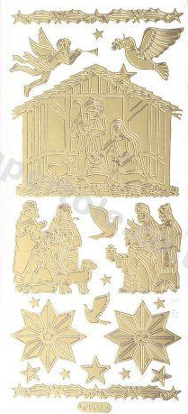 Christmas Nativity - Gold Peel Off -  256 Peel Off Stickers Le Suh