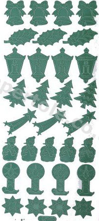 Xmas - Bells - Holly - Lanterns - Trees - Candles 291 Peel Off Stickers Le Suh