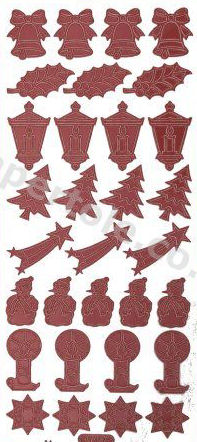Xmas - Bells - Holly - Lanterns - Trees - Candles  337 Peel Off Stickers Le Suh