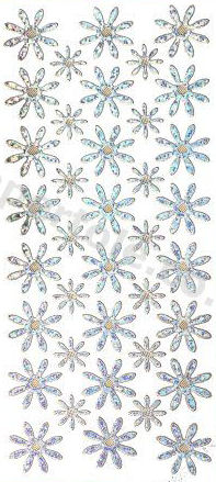 Flower Heads - Snow - Silver   345 Peel Off Stickers Le Suh