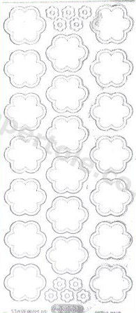 Flower Heads Silver   354 Peel Off Stickers Le Suh