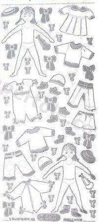 Girl and Clothes Silver   359 Peel Off Stickers Le Suh