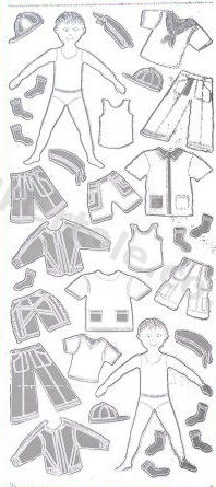 Boy and Clothes Silver   360 Peel Off Stickers Le Suh
