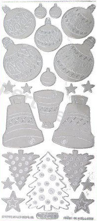 Silver Xmas Decorations - Bauble - Tree - Bell   361 Peel Off Stickers Le Suh