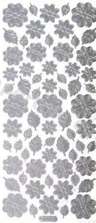 Flower Shapes 3 --  Silver Peel Off  --  365 Peel Off Stickers Le Suh