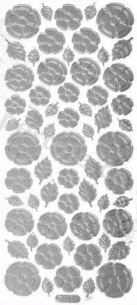 Flower Shapes 4 --  Silver Peel Off Stickers -- 366 Peel Off Stickers Le Suh