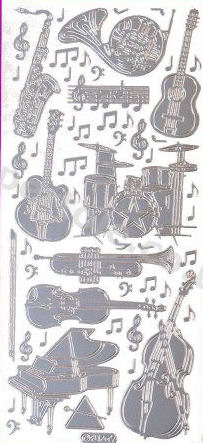 Drums - Guitar - Violin - Piano - Trumpet - Sax   428 Peel Off Stickers Le Suh