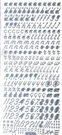 Italic lower Case Letters and Numbers   487  Peel Off Stickers Le Suh