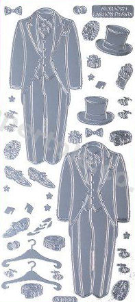Groom - Top Hat and Tails - Wedding   505 Peel Off Stickers Le Suh