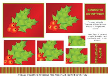 Christmas Holly PYRAMID SHEET - Part of the Cute Christmas Range - -Jacksons mail Order