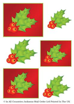 Christmas Holly TOPPER SHEET - Part of the Cute Christmas Range - OTHER MATCHING ITEMS - PT0103, PT0105, PT106  -Jacksons mail Order