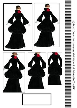 Black Winter Coat with Red Flower - PYRAMID SHEET - Part of the Vintage Fashion Disc 19 - Matching Items available PT121 PT123 PT124 . -Jacksons mail Order