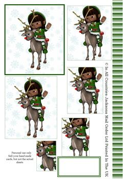 Unique Little Elf on a Reindeer - PYRAMID SHEET - Part of the Elves Disc 21 - Other Matching Items in the Range - PT130 PT131 PT132 . -Jacksons mail Order