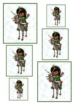 Unique Little Elf on a Reindeer - TOPPER SHEET - Part of the Elves Disc 21 - Other Matching Items in the Range - PT129 PT131 PT132 . -Jacksons mail Order