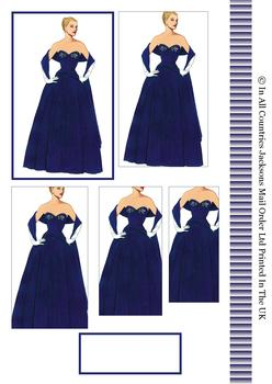 Going to Prom - Lady in Beautiful Evening Dress - Pyramid Topper, Border and Blank Tag . -Jacksons mail Order