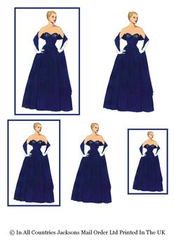Elegant Lady in Evening Dress / Prom Dress / Bridesmaid - Topper Sheet - 3 Projects different sizes . -Jacksons mail Order
