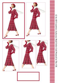 Scottish, Tartan, Suave Dressed Lady - Pyramid Topper, Border and Blank Tag -Jacksons mail Order
