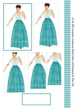 Sophisticated Vintage Fashion Lady in Turquoise Dress - Pyramid Topper, Border and Blank Tag . -Jacksons mail Order