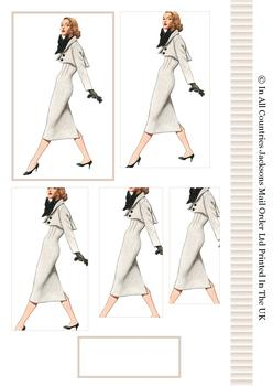 Vintage Fashion - Lady in Grey Suit - Pyramid Topper, Border and Blank Tag -Jacksons mail Order