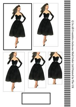 Vintage Fashion - Spanish Senorita in Black Dress - Pyramid Topper, Border and Blank Tag -Jacksons mail Order
