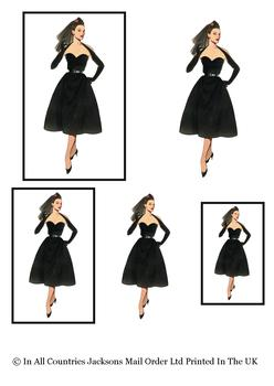 Little Black Dress - Goth - Topper Sheet - 3 Projects different sizes . -Jacksons mail Order