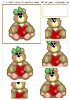 Cute Bear with Heart - Love me Tender - Pyramid Topper, Border and Blank Tag . -Jacksons mail Order