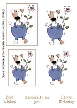 Cute Dog with Flower - Topper Sheet - 2 Projects different sizes and 3 Sentiments -Jacksons mail Order