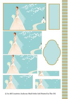 Bride on the Path to Love - PYRAMID SHEET - Image, Border, 2 x Blank Tag -Jacksons mail Order