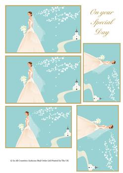 Bride on the Path to Love - TOPPER SHEET - 1 x Project & 1 x Sentiment . -Jacksons mail Order