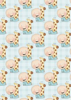 Cute Baby Boy & Giraffe Topper Sheet - discBaby4B . -Jacksons mail Order