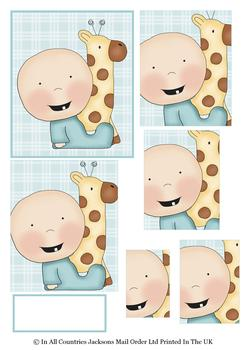 Cute Baby Boy & Giraffe Topper Sheet - discBaby4 . -Jacksons mail Order