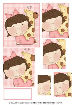 Cute Baby Girl & Giraffe Topper Sheet - discBaby3 . -Jacksons mail Order