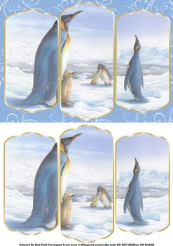 Tri Fold Card - Penguins . *