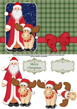 Santa and his Reindeer - Papertole Exclusive Topper Sheet . *