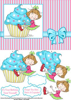 Cup Cake Girl - Papertole Exclusive Topper Sheet . *