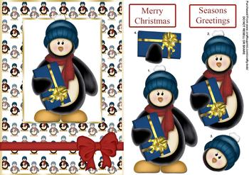 Cute Christmas Penguin - Papertole Exclusive Topper Sheet . *