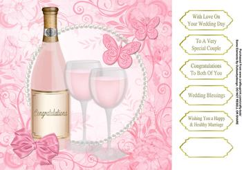 Pink Champagne Wedding - Papertole Exclusive Topper Sheet . *