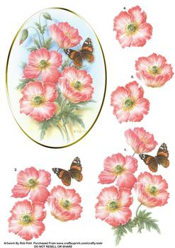 Flower and Butterfly - Papertole Exclusive Topper Sheet . Rob Pohl