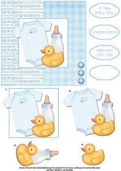 Congratulations Baby Boy - Papertole Exclusive Topper Sheet . *