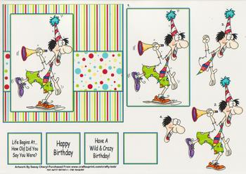 Humorous / Funny /  MALE Birthday Age Card by Sassy Cheryl - Papertole Exclusive Topper Sheet . -Jacksons mail Order