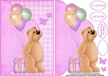 Happy Birthday Teddy & Balloons - Papertole Exclusive Topper Sheet . *
