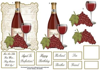 Happy Birthday Red Wine & Grapes - Papertole Exclusive Topper Sheet . *