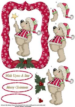 Christmas Teddy & Star - Papertole Exclusive Topper Sheet . -