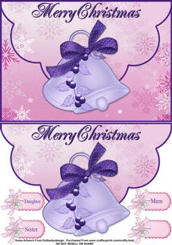 Christmas Bells Envelope Card - Papertole Exclusive Topper Shee . *