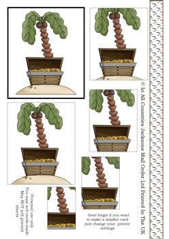 Palm Tree & Treasure PYRAMID SHEET - Part of the Pirates Range . -Jacksons mail Order