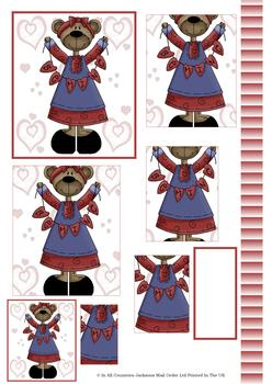 Be Mine Valentine Teddy - PYRAMID SHEET - Part of the Valentines Disc 22 - Other Matching Items in the Range - PTO134 PTO135 PTO136 . -Jacksons mail Order