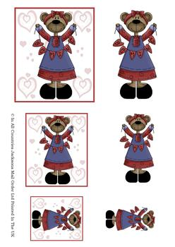 Be Mine Valentine Teddy - TOPPER SHEET - Part of the Valentines Disc 22 - Other Matching Items in the Range - PTO133 PTO135 PTO136 . -Jacksons mail Order