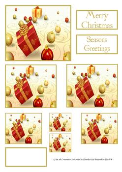 Christmas Parcel / Present and Baubles - TOPPER SHEET - Part of the Merry Christmas Disc 2 - OTHER MATCHING ITEMS - PTO137 PTO139 PTO140 . -Jacksons mail Order
