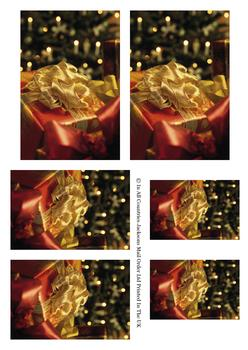 Beautiful Christmas Gift with Gold Ribbon - Topper Sheet -Jacksons mail Order