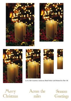 Warm Festive Christmas Candles - Pyramid Sheet - Across the Miles & Seasons Greetings . -Jacksons mail Order